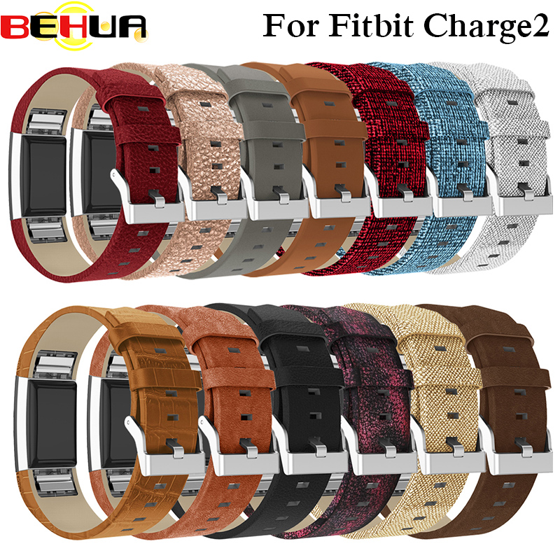 Replacement For Fitbit Charge 2 Bands Leather Straps Band Interchangeable Smart Fitness Watch Band With Stainless For Charge2