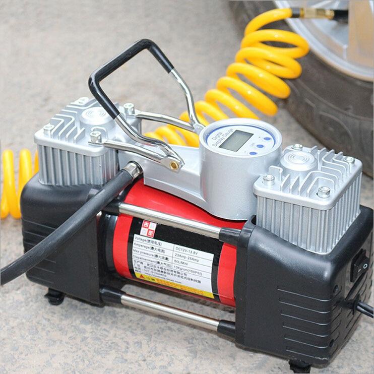 High Pressure Preset Air Pump 12v Air Compressor Car Tyre Tire Home Inflator Double Cylinder Inflator Digital or Mechanical