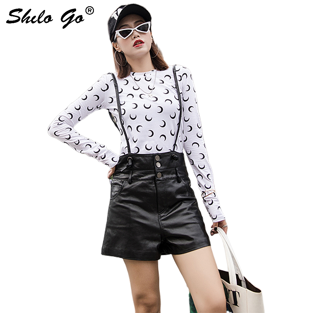 Streetwear Leather Shorts Women Casual Strap High Waist Sheepskin Genuine Leather Wide Leg Shorts Front Button Female Hot Shorts