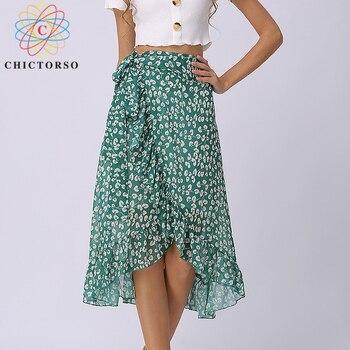 Chictorso High Waist Chiffon Wrap Skirt Women Sexy Floral Skirt Long Boho Skirt Maxi Bohemian Summer Skirts Womens Saia Midi New Юбка