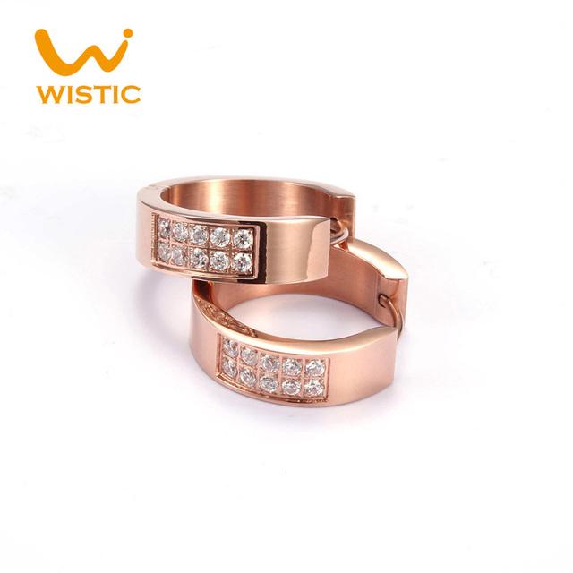 De calidad superior Rose Gold Filled CZ pendientes de aro marca circonita moda círculo de la joyería para el Perfume de mujer señora Bijoux