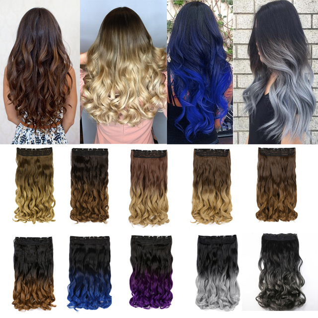 """AIMEI Synthetic One Piece Clip in Hair Extensions 24"""" 60cm Long Wavy 5 Clips Ombre Blonde Brown False Hair Hairpieces for Women 2"""