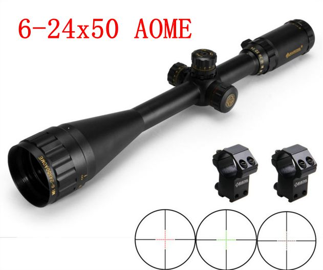 Hunting 6-24X50 AOME Gold Lettering Riflescope Tactical Optical Sight Scope With Ring Mounts For Shooting Air Rifle Gun Weapon t eagle 6 24x50 sffle riflescope side foucs rifle scope with spirit level tactical long range rifles airsoft air gun