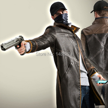 Watch Dogs Cosplay PU Leather Jacket Aiden Pearce Wind Coat Windbreaker Costume Game Custom for Any Size