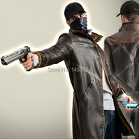 Watch Dogs Cosplay Costume PU Leather Jacket Outfit Aiden Pearce Wind Coat Windbreaker Halloween Costumes for Women/Men