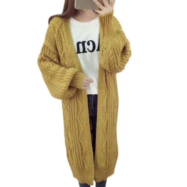 Populair 2017 Cardigans V neck Oversized knitted sweater Women Long &GJ17