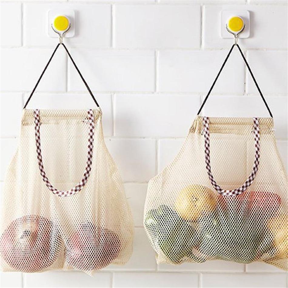 VOGVIGO Kitchen Vegetable Onion Potato Storage Hanging Bag Hollow Breathable Mesh Bag Kitchen Garlic Ginger Mesh Storage Bag