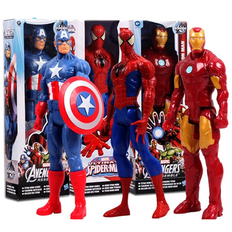 1230CM Marv Super Hero Avengers Action Figure Toy Captain America,Iron Man,Wolverine,Spider-Man,Raytheon Model Doll Kids Gift 2017 new avengers super hero iron man hulk toys with led light pvc action figure model toys kids halloween gift