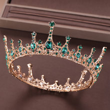 KMVEXO 2019 Vintage Green Crystal Tiara Crowns Queen King Round Crown Wedding Bridal Hair Accessories Women Baroque Hair Jewelry(China)