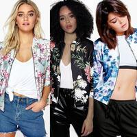 HOT New Arrival Drukuj Wzór Typu Materiału Poliestrowego Fashion Women Casual Zipper Vintage Jacket Coat Znosić 2017 # # ZJ