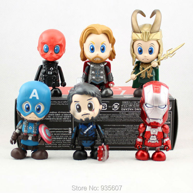 2015 new The Hero Captain America Iron Man Thor Red Skull 6pcs 8-10cm   Action Figure for the children  High quality gift victorian america and the civil war