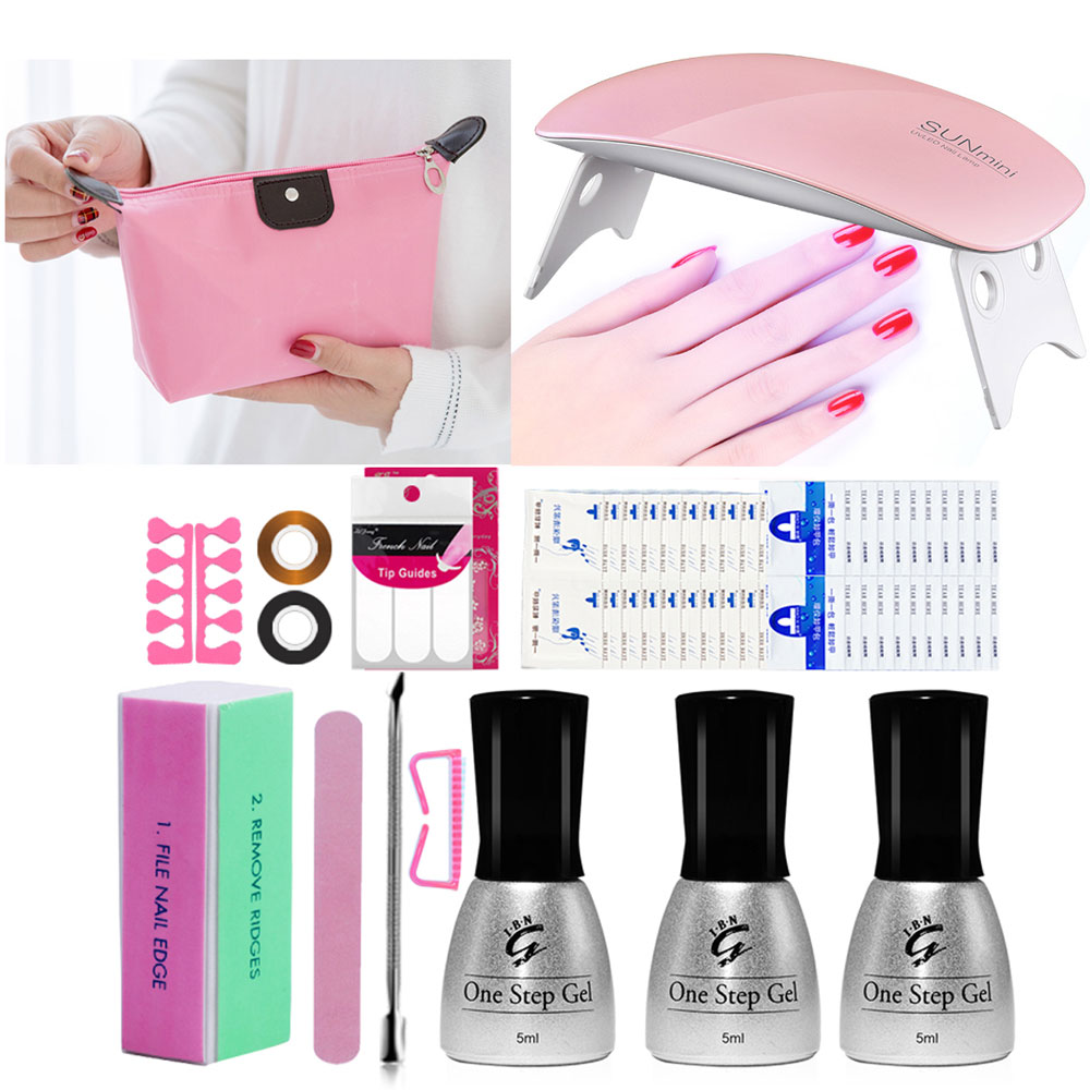 One Step Nail Gel Starter Kit for French Manicure Nails with Sun UV LED Nail Lamp Say Goodbye to Base and Top Coat