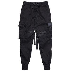 Image 5 - Homens multi bolso elástico cintura design harem pant homem streetwear punk hip hop calças casuais corredores masculino dança calça gw013