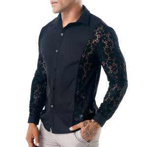 MIXCUBIC Shirts Men Casual Unique Autumn Arm Slim for Size-S-Xxl Stitching Lace College-Style