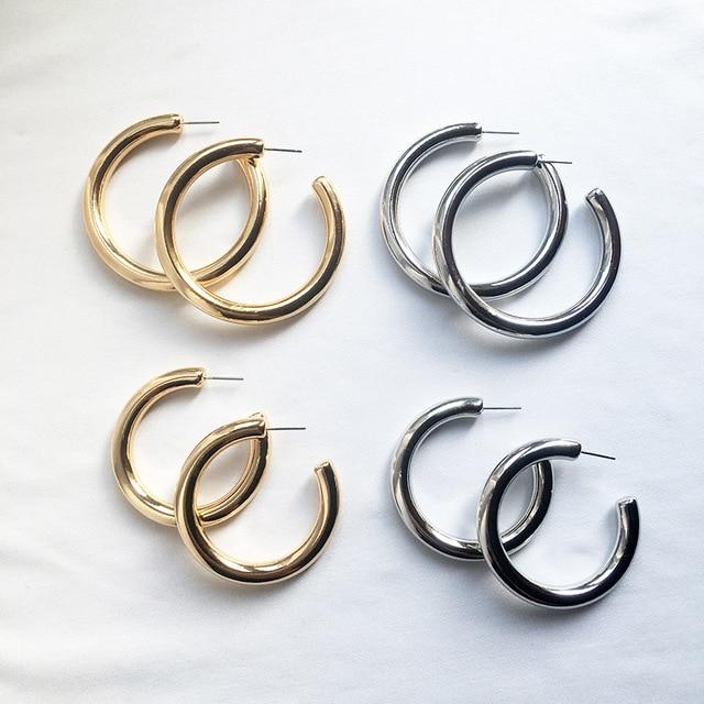 Street Style CC Hoop Chunky Gold Silver Small Big Hoop Earrings For Women Punk Metal Gold Circle Earrings 3