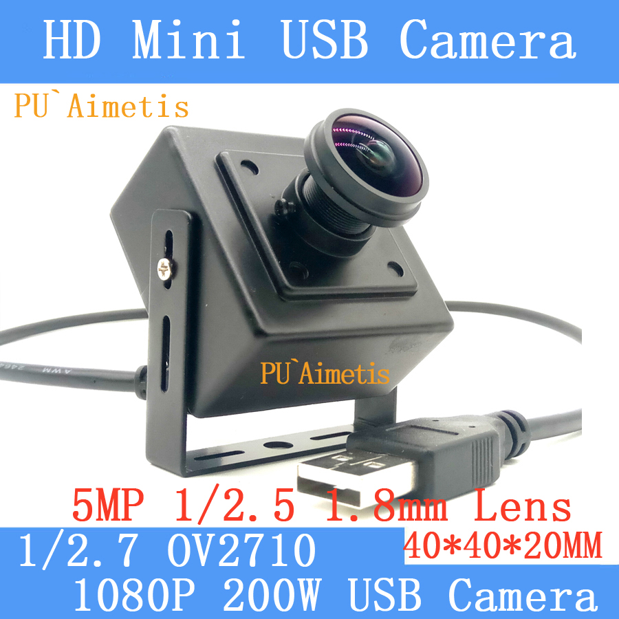 PU`Aimetis Full Hd 2MP 1080P MJPEG 30fps High Speed 1/2.7 OV2710 1.8mm 170 degree Surveillance camera Linux UVC Mini USB Camera industrial full hd 1080p mjpeg