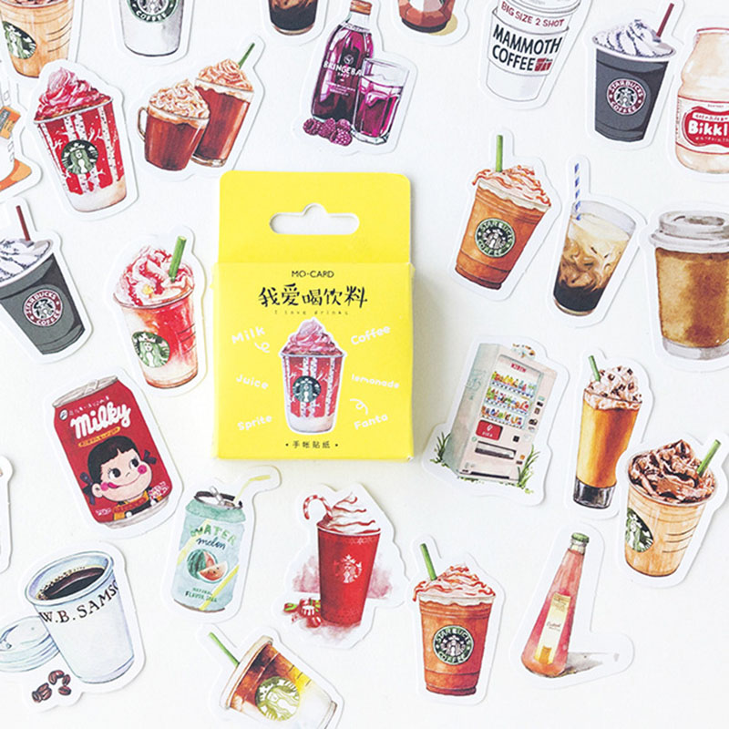 46pcs/lot Stationery Stickers Kawaii Cartoon Drink Decor Adhesive Stickers For Decorations Scrapbooking Diary Albums Stationery