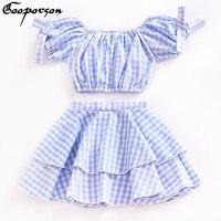אופנה של הילדה בגדי סט 2 יחידות כתף את תינוק משובץ כחול הלבשה עליונה חליפה לילדים 2018 בגדי ילדה למעלה יבול וחצאית סטים