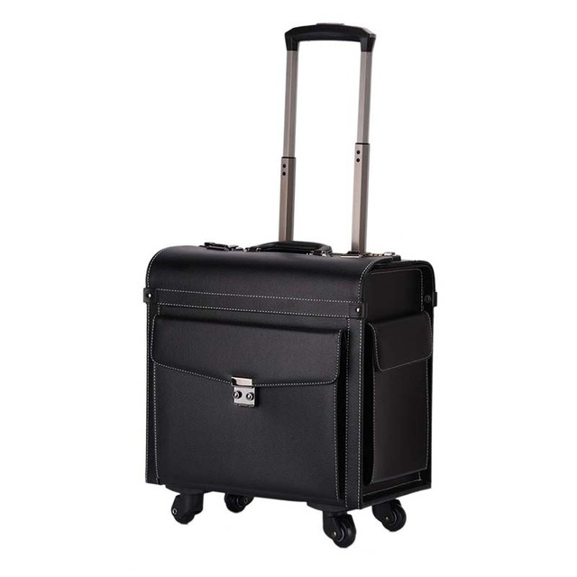 cd5f05b7c BeaSumore Men Retro Rolling Luggage Spinner 18 inch Cabin Travel Bag PU  Leather Wheel Suitcases Business Trolley Case Flight Box