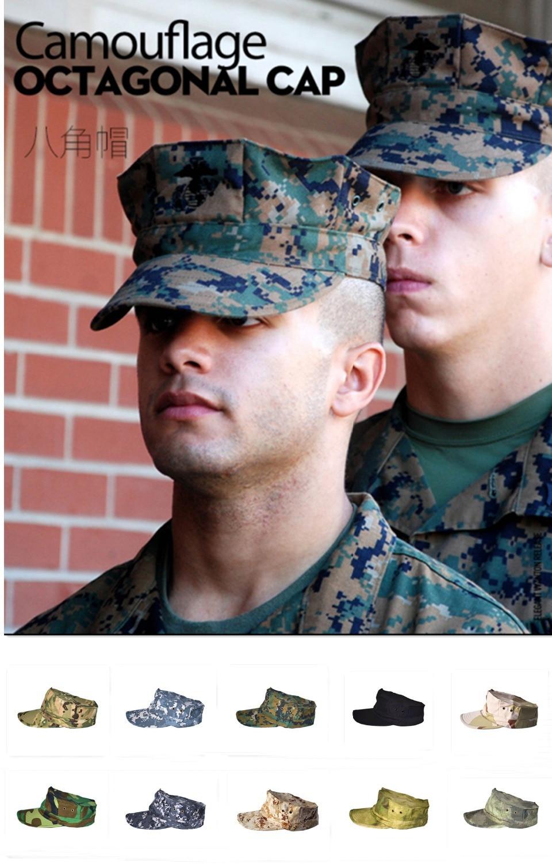 Livraison gratuite Hommes de Militaire Octogonale Cap, Casquette Army Camo, tactique Octogonale Chapeau, Chapeau De soldat, Bouchon De Combat, 1 PC