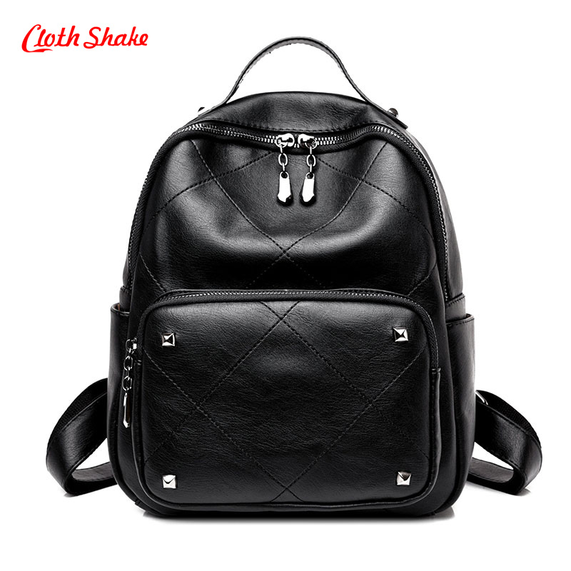 Cloth Shake New Arrival Summer Fashion Women Backpack Simple Casual School Bag Medium Size PU Leather