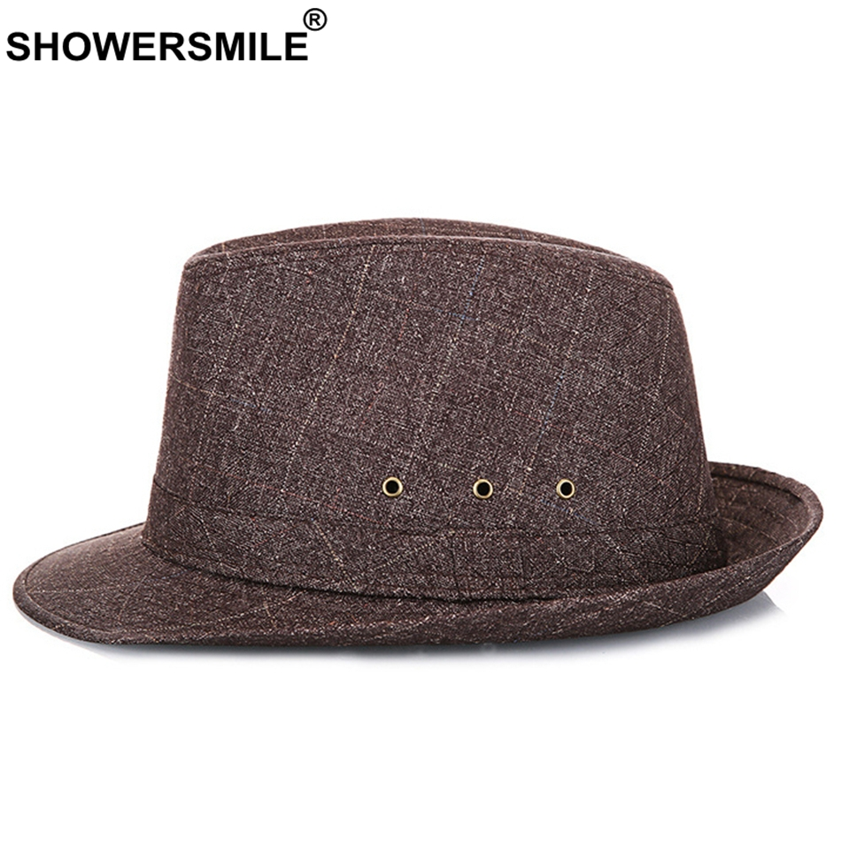e2c6f20a7d7 Aliexpress.com : Buy SHOWERSMILE Brown Fedora Hat For Men Breathable  Striped Jazz Hats Male New Fashion Spring Summer Vintage England Style Caps  from ...