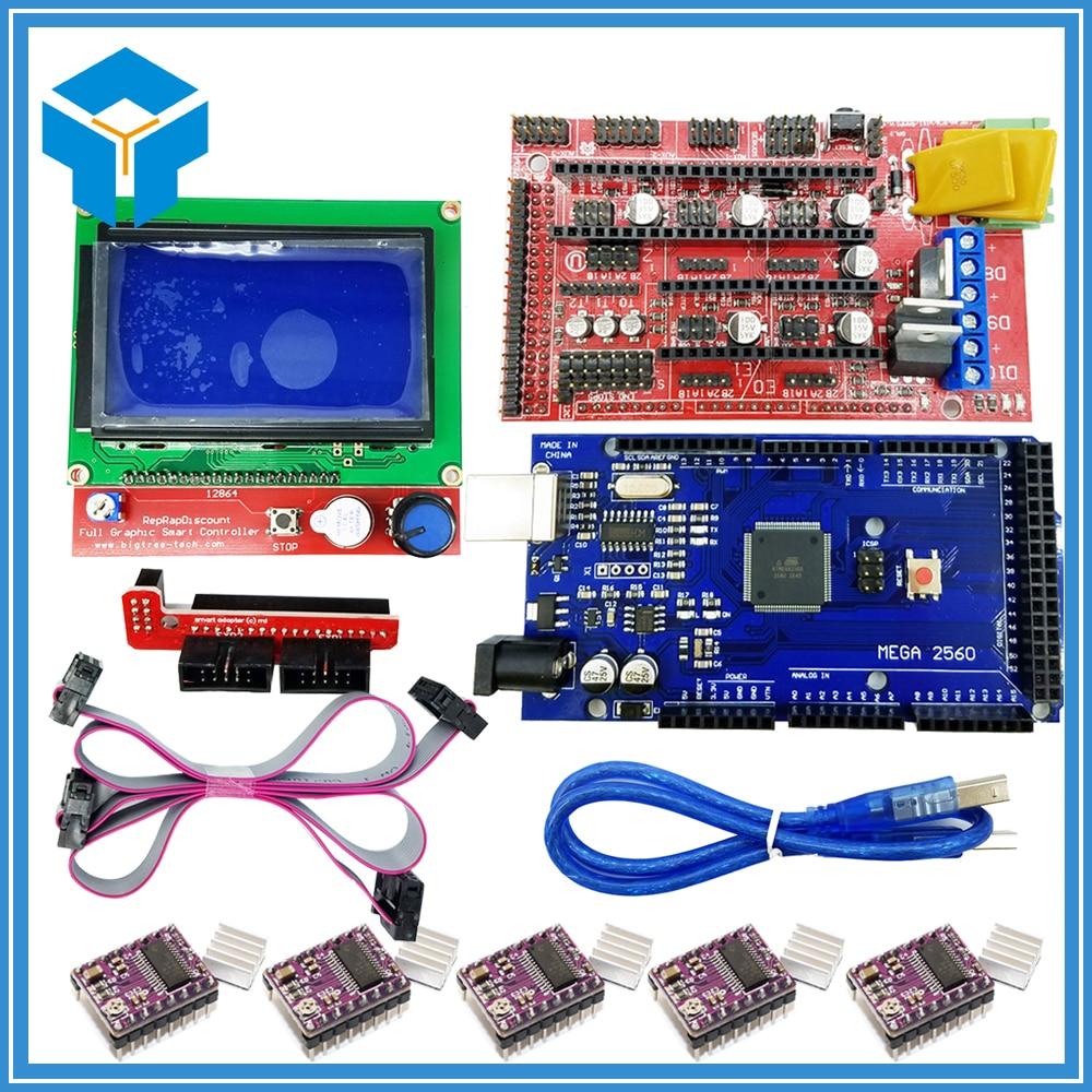 3D Drucker kit 1 stücke Mega 2560 R3 + 1 stücke RAMPS 1,4 Controller + 5 stücke DRV8825 Stepper Motor stick + 1 stücke LCD 12864 controller