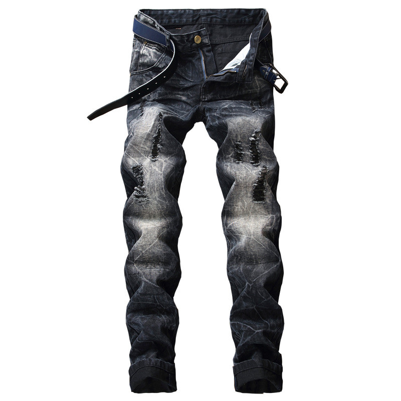 Newsosoo Fashion Men Retro Ripped Jeans Vintage Distressed Denim Trousers Man Black Torn Jean Pants With Holes Plus Size 28-40