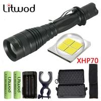 Litwod Z90P75 оригинальный CREE XLamp XHP70 32 Вт 3200lm Мощный тактический светодиодный фонарик с зумом объектива 2x18650 фонарь на батарее