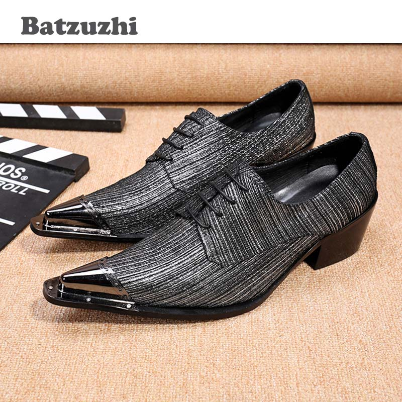 Batzuzhi New Mens Dress Shoes Leather Italian Men Party Oxfords Metal Pointed Toe High Quality Grey Men Formal Shoes! 45/46 choudory new winter men ankle italian shoes men leather shoes pointed toe mens black dress shoes sequined toe spiked loafers men