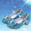 Menina moda princesa elsa bling bowknot shoes meninas sapatos de salto alto solteiro shoes partido desempenho shoes pink & white 26-37 j-779
