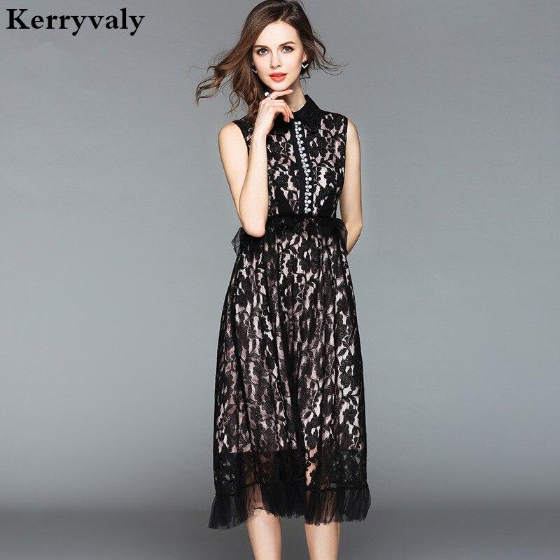 0d738c3993a1ab Hepburn Summer Little Black Lace Dress Dames Jurken Zomer 2018 Sleeveless  Midi Beach Party Dress Vestido De Verano K6146