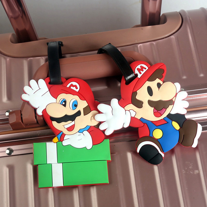 Tag-Suitcase Label Baggage-Tag Travel-Accessories Super-Mario-Bros Address-Id-Bag Name