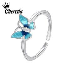 Chereda Classic Butterfly Rings for Women Blue Color Fashion Silver Finger Creative Ring Female Trendy Jewelry