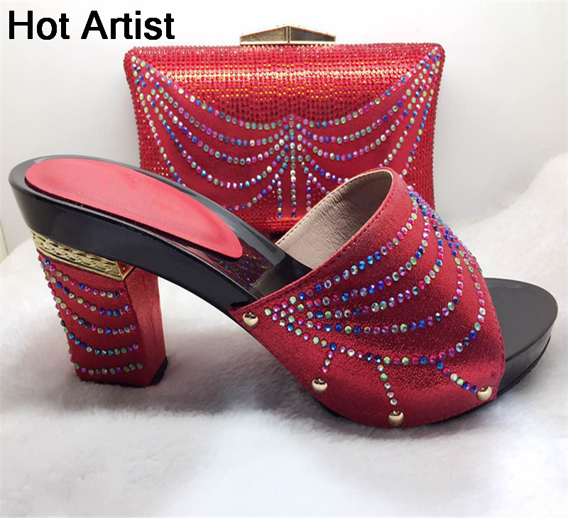 Hot Artist Africa Style Rhinestone Shoes And Bag Set Italian Summer High Heels Shoes And Bag Set For Wedding Party TYS17-37 capputine new arrival fashion shoes and bag set high quality italian style woman high heels shoes and bags set for wedding party