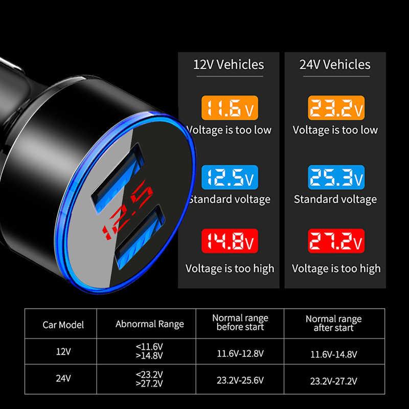 2019 qc3.0adaptador de cargador de coche USB 3.1A Digital LED voltaje/pantalla de corriente Auto vehículo cargador de Metal para teléfonos inteligentes