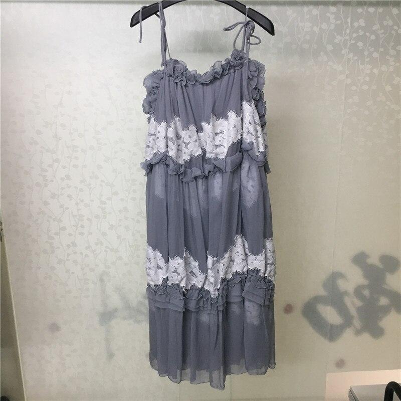 Été femmes robe décontracté Spaghetti sangle dames robe élégante 2019 sans manches robe gris