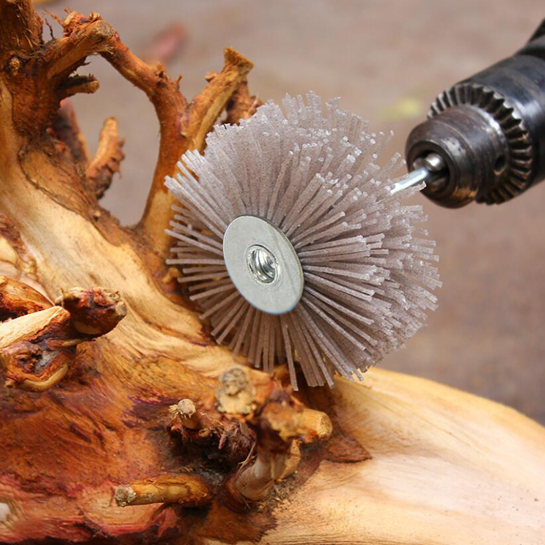 Abrasive Wire Grinding Flower Head Abrasive Nylon Wheel Woodwork Polishing Brush Bench Grinder For Wood Furniture Mahogany