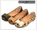 Free Shipping Flat Shoes Women 2015 Square Toe Casual Shoes Sequin Bows Ballerina Shoes For Women Leopard Flats