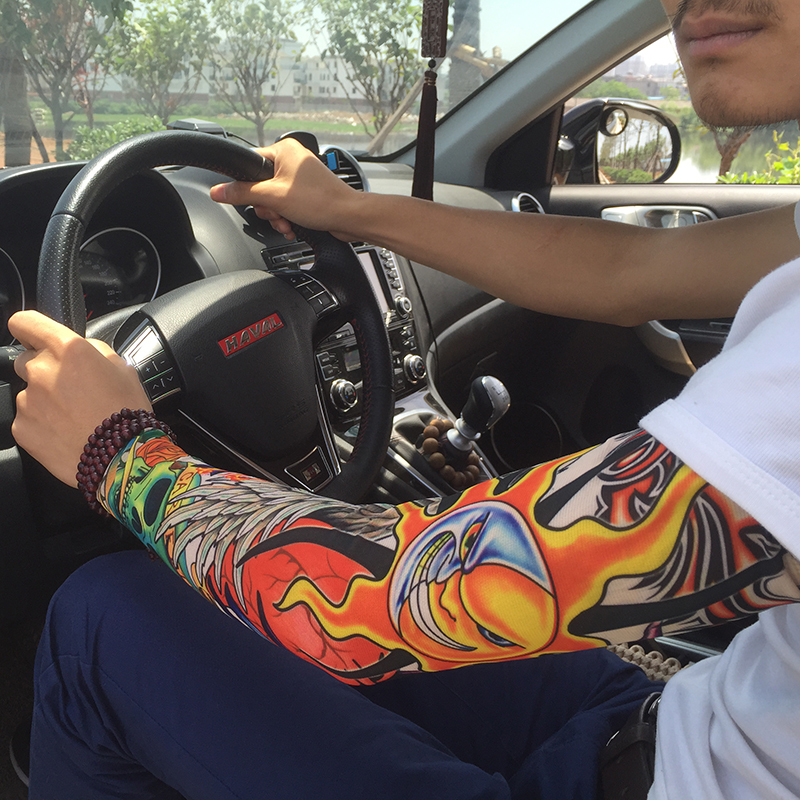 2 Pcs Cool Simulation Tattoo Sleeve Arm Sunscreen Arm Warmer Long Cuff Arm Sleeve Armguard Riding Tattoo Sticker