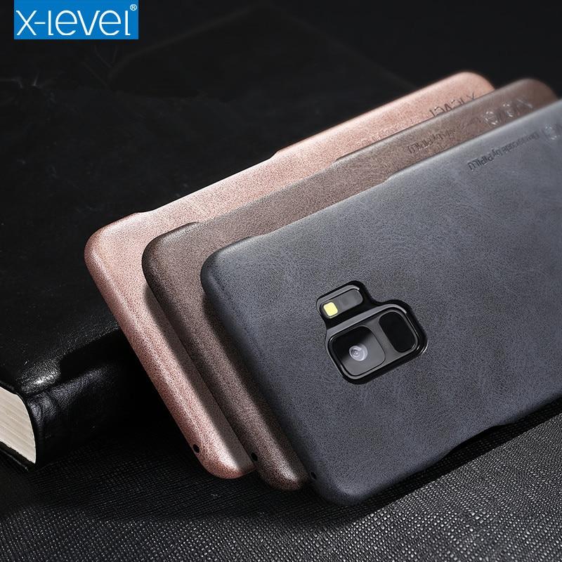 Caso Vintage per Samsung Galaxy S9 Più X-Livello di Lusso Retrò PU Custodia In Pelle per Samsung S9 S9 + Back Cover Protettiva Shell