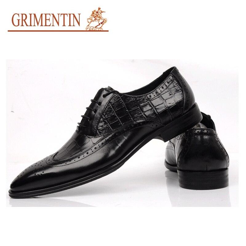 Stil Italienische Black Schwarz Schuhe Leder Grimentin Männer brown Krokodil Marke Formale Hochzeit Echtes Mens Braun qnpwUnO0