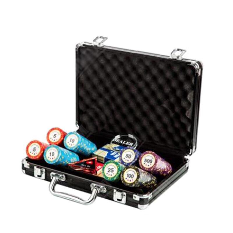 200 pièces Jeu De Jetons De Poker avec Le Concessionnaire et Tout En & 2 Cartes À Jouer En Plastique & Valise Diamant Jetons de Poker En Argile 14g 40*3.4mm