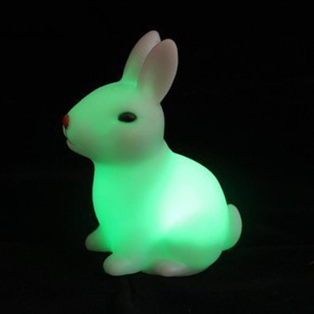 Rabbit Shape Home Night Lamp Children Baby Bedroom Bedside Color Changing Cartoon Animal Light