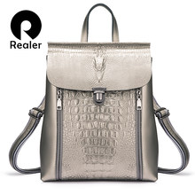REALER backpack women split leather backpack school bags for girls teenagers for books waterproof large travel bag Silver/Pink(China)