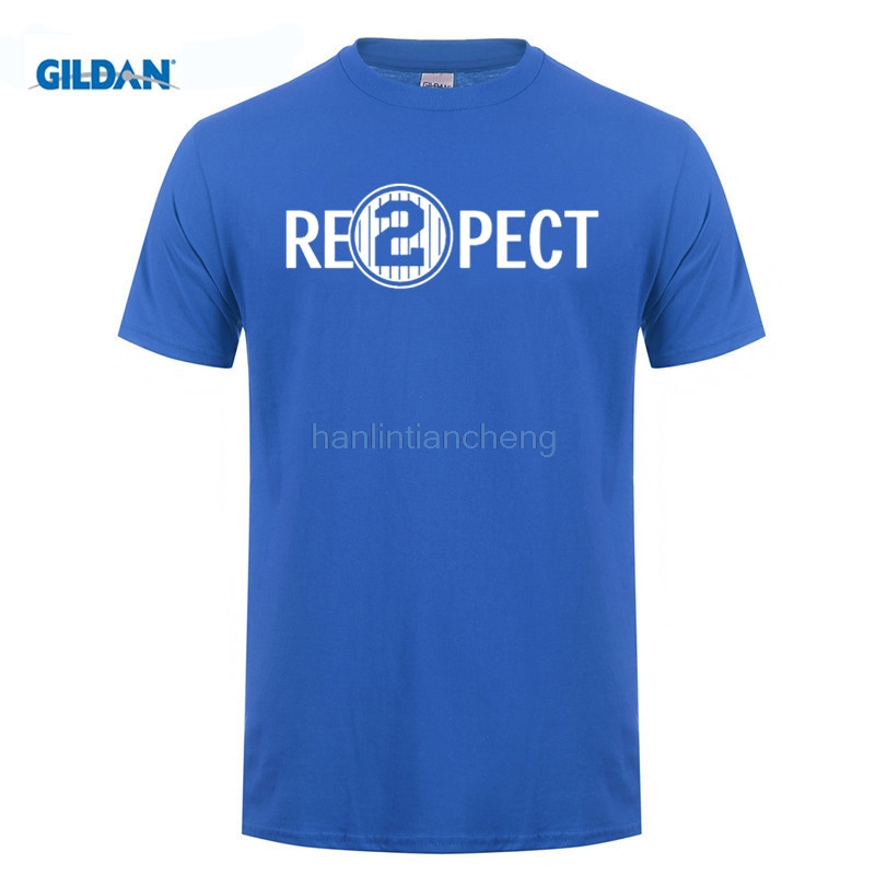 GILDAN mens t shirts Quality Print New Summer Style Cotton Respect 2 Re2pect Derek Jeter Captain Ny Yankees