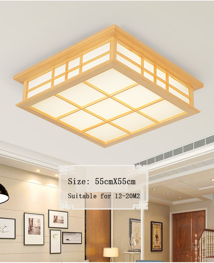 Ceiling Lights Japanese Style Delicate Crafts Wooden Frame Led Ceiling Light Luminarias Para Sala Dimming Led Ceiling Lamp Punctual Timing