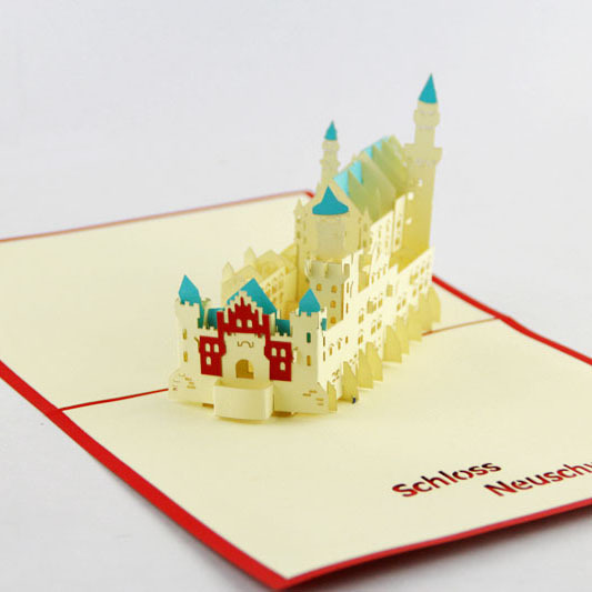 Cubic life building Germany romantic fantasy castle New Swan Stone Castle stereo cards creative handmade paper