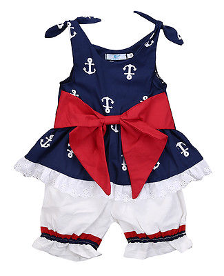 Baby Anchor Bow Lace Sleeveless Tops T-shirt Shorts Pants 2pcs Suit Outfits Set