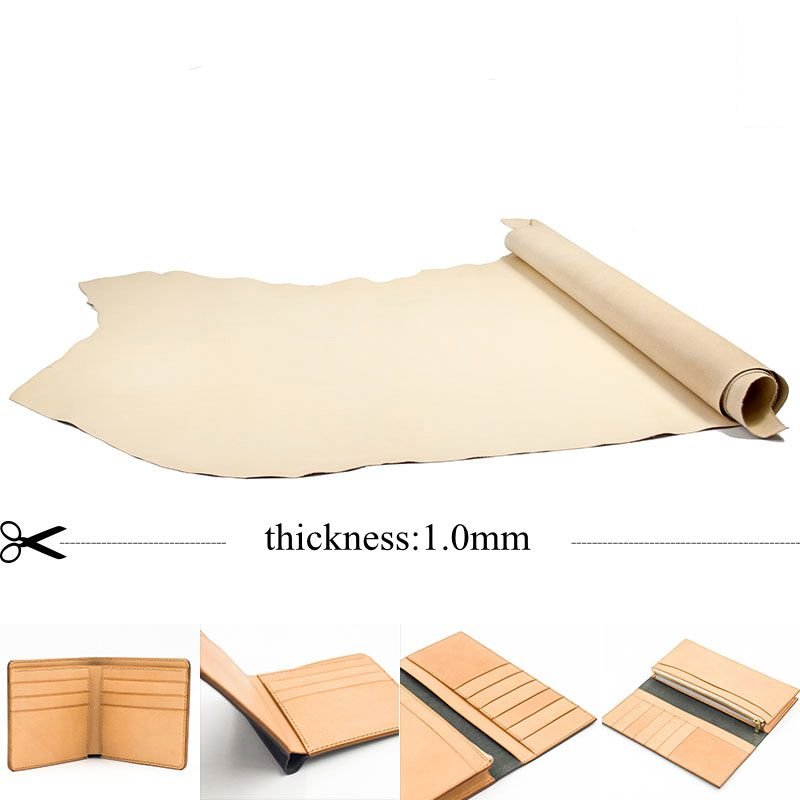 1.0mm Leather Good For Making Bags DIY Material Color Plain Easy For Dye Genuine Leather Wallet Lining